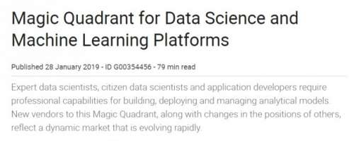 Magic Quadrant for Data Science and Machine Learning Platforms (enero 2019) - Publicamos Magic Quadrant del 28 de enero de 2019 de plataformas de Data Science y Machine Learning. Se trata de un completo análisis y comparativa de las principales herramientas de este tipo.